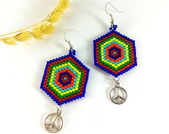 Boho hippie earrings Mandala earrings Peace earrings Colorful earrings Rainbow wedding Rainbow party Rainbow birthday Rainbow gift