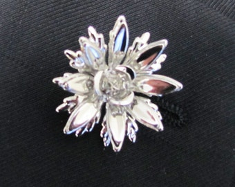 Silver Plated Metal FLower  Boutonniere With 2 Inch Silver Stick Lapel Pin