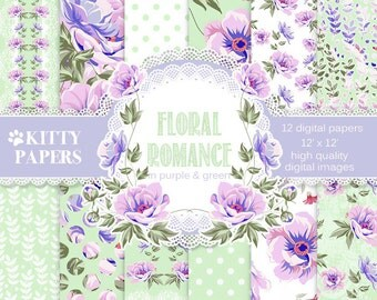 "Floral digital paper ""Floral Romance in Purple and Green"" green and purple floral digital paper, shabby chic digital paper, decoupage paper"