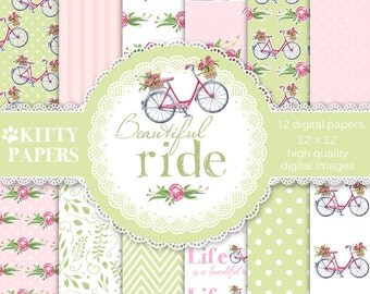 "Bicycle Digital Paper : ""Beautiful Ride"" Bike Flowers Digital Paper Pack, pink and green digital paper with bikes and roses, Bike patterns"