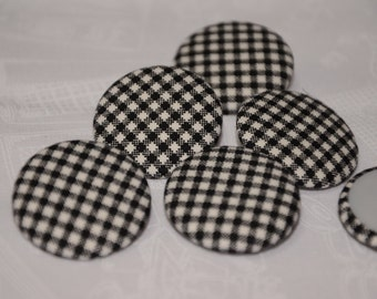 """Fabric Buttons, Checkered Fabric Covered Buttons - 1.25"""" 6's"""
