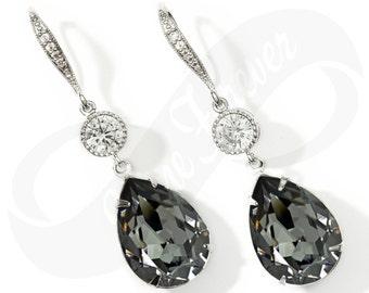 Bridesmaid Jewlery Silver Night  Bridesmaid Swarovski Crystal Gray Earrings Bridal Earring Bridesmaid Jewelry Drop Earring Wedding Jewelry