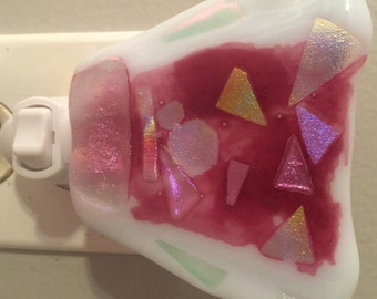 Night light, cranberry confetti,bright rainbow dichroic,pink dichroic accents