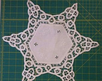Battenburg lace,  octagon shaped doily. White.