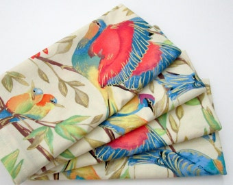 Large Cloth Napkins - Set of 4 - Red Blue Yellow Green Cream Off-White Metallic Gold Birds - Dinner Table Everyday Wedding