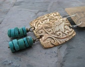 Reserved for Vicki...Floral bronze and turquoise earrings,textured bronze,mixed metals,natural turquoise,botanical earrings,bohemian jewelry