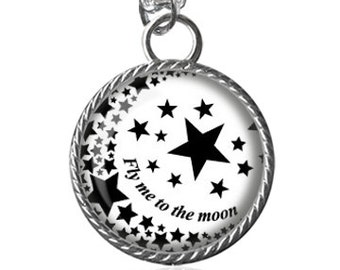 Fly Me To The Moon Necklace, Moon, Stars Image Pendant Key Chain Handmade