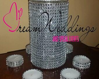 Rhinestone wedding centerpiece + rhinestone tealight candles set ,rhinestone vase,wedding centerpieces,BLING vase