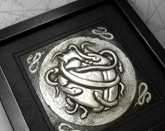 Heart Snakes : hand embossed anatomical repoussé metal wall art