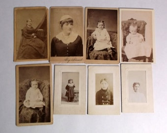 """Lot of 8 Vintage photos women and girls early 1900's Buffalo NY, sizes 1 1/4 x 2 1/4""""  to 2 3/8 x 4"""""""