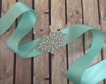 Aqua sash, Flower girl sash, childrens sash, wedding sash, rhinestone sash, dress sash