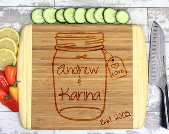 Mason Jar Cutting Board - Engraved Cutting Board