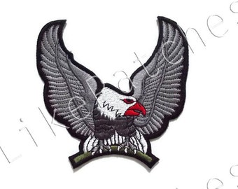 Gray Eagle - America U.S.A New Sew / Iron On Patch Embroidered Applique Size 10.3cm.10.3cm.