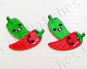 Iron On Patch Set 2 Pieces. Chilli Food Gift Food Patches Vegetables Iron On Patch Embroidered Cute Patches Iron On Size 3.5cm.x3cm.
