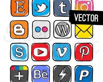 VECTOR - Guache - Social media icons