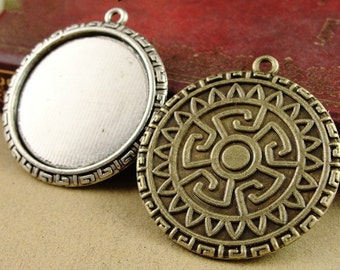 Wholesale 20pcs Antique Silver/Bronze Round Roman Style Base Setting Pendant Trays  -30mm Bezel Cabochon Settings - Pendant Tray Blanks