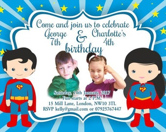 10 x Children Birthday Party Invitations or Thank you Cards Superman