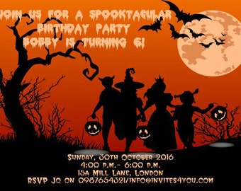 Downloadable Personalised Halloween Party Invitations printable, digital