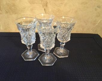 Cut Glass Cordial Glasses (6)