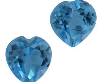 Swiss Blue Topaz Heart Cut Loose Gemstones Set of 2 4mm TGW 0.49 cts.
