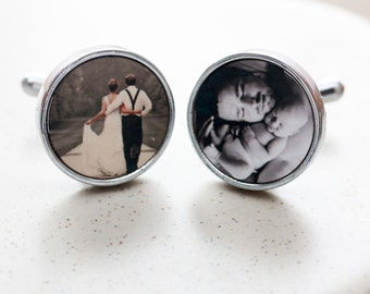 Photo Cufflinks - Bespoke Cufflink for Him - Father's Day Gifts - Wedding Cufflinks - Father of the Bride - Groom Gifts - Gifts for Dads