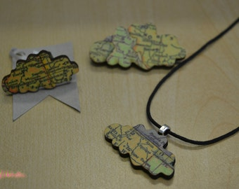 Wooden Whimsies Map Cloud set Pendant Ring Brooch