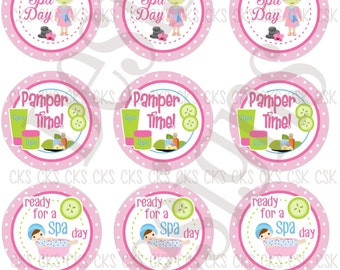 "1"" Digital Bottle Cap Sheet **INSTANT DOWNLOAD** Spa Day"