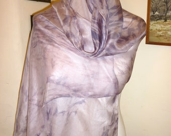 Winter snow,naturally dyed,purple silk scarf,eco friendly,hand dyed scarf,shibori,arashi,eco scarf,violet scarf,lavender scarf,lavender silk
