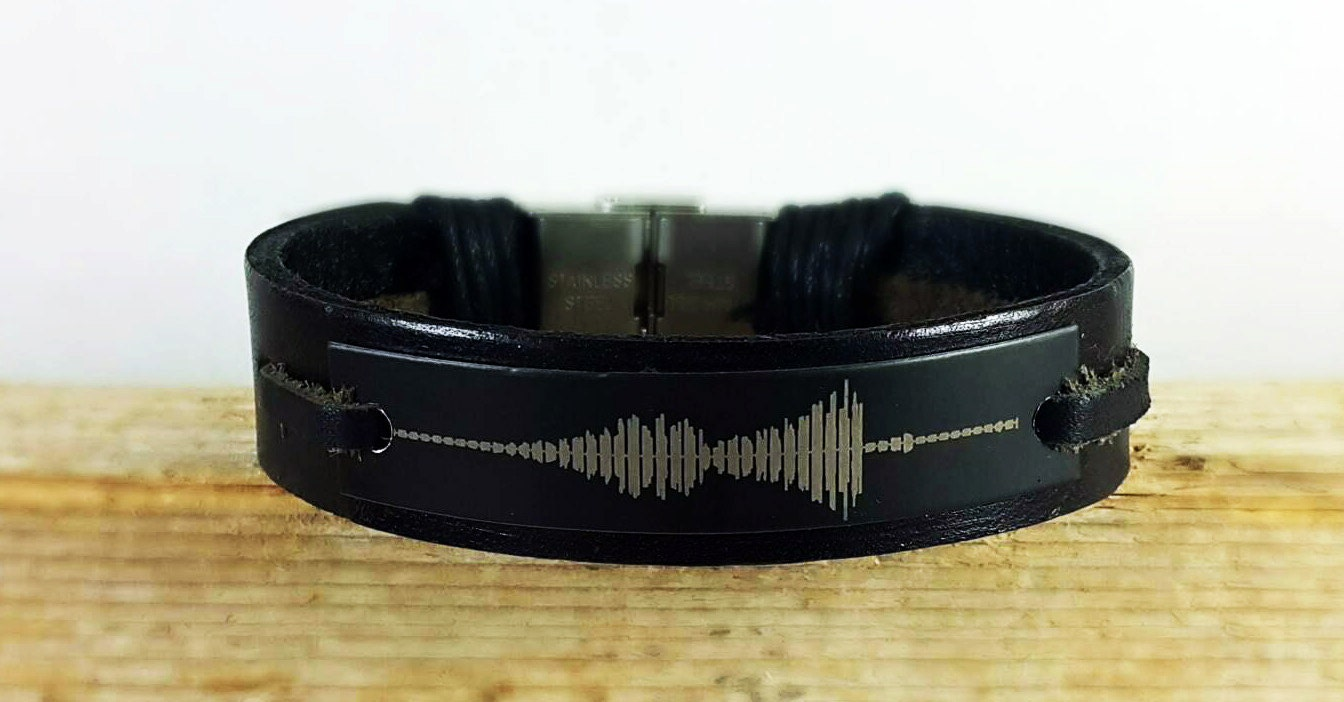 fast shipping sound wave personalized bracelet engraved