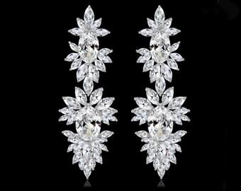 Statement bridal earrings, luxury bridal earrings, diamond bridal jewelry, Art Deco chandelier earrings, long earrings