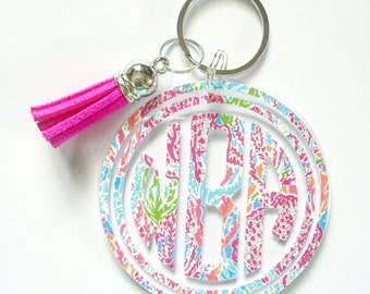 Lilly Pulitzer Inspired Monogram Keychain with Tassel 2.5 inch