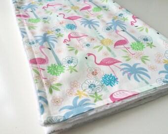 Baby blanket - Minky baby blanket - Flamingo baby blanket - Girly baby blanket - Tropical baby blanket - Baby girl blanket -Baby shower gift