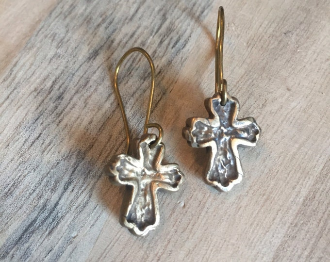 Cross Earrings, Gold and Silver Earrings