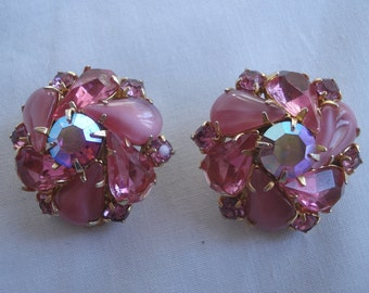 Weiss Jewelry Clip Earrings Multi Color Rhinestones Gold Tone 50s 02914