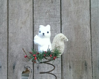 Rustic Christmas Tree Topper Bed Spring White Squirrel  Holiday Decor