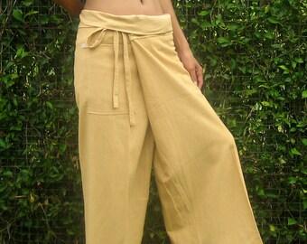 Fisherman Pants Wrap Yoga Pants Thai Fisherman Pants Wide Leg Pants Hippie Pants Thai Pants Burning Man Pantaloni Thai Calca Tai * beige *LF