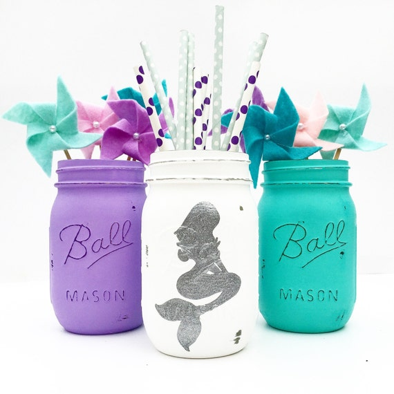 Little Mermaid Centerpiece Ideas Wedding: Mermaid Mason Jar Trio Mermaid Nursery Mermaid Birthday