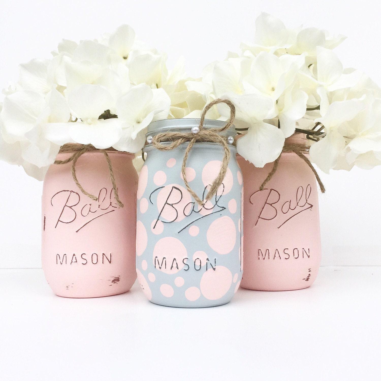 set of 3 mason jars baby shower baby girl pink nursery