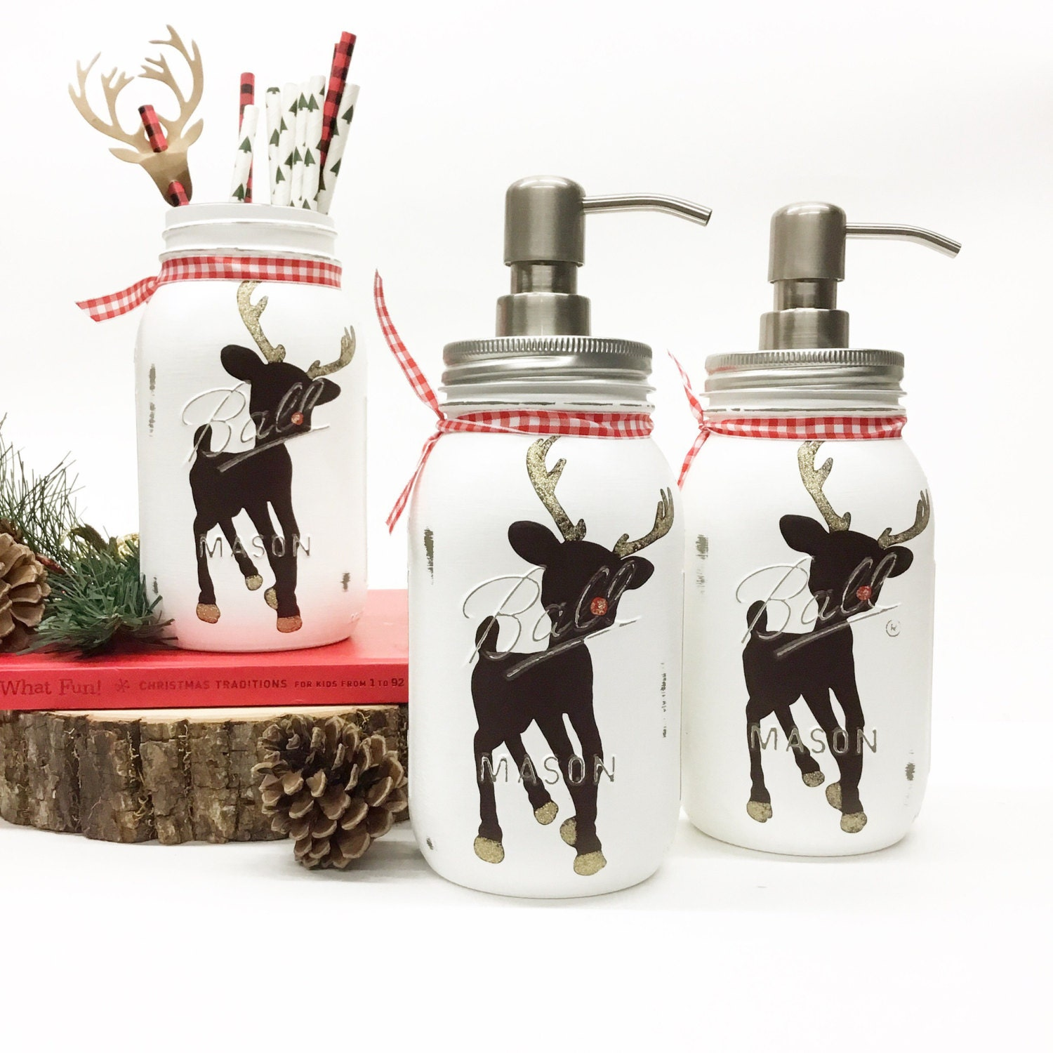 Mason Jar Christmas Decorations: Hand Painted Rudolph Mason Jar Christmas Decor Reindeer
