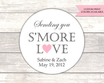 Smore love stickers - Sending you smore love stickers - Wedding favor stickers - Wedding stickers - Wedding labels (RW008)