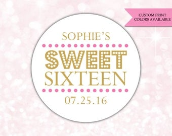 Sweet 16 stickers - Sweet sixteen stickers - Birthday stickers - (RW075)