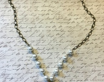 Pearl and Antiqued Brass Chain with Vintage Mirrored Button Pendant