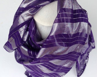 Purple silk scarf,  Gift for Sister under 30, Sparkle Gift for coworker, Fashion Head scarf, Gift for Best friend, Red Hat Society