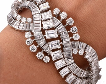 Estate Emerald-cut & Round Diamond Platinum Bracelet Item #: 639209