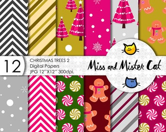 "Christmas digital papers, model ""Christmas Trees 2"". Scrapbook papers, commercial use, background in Jpg. 1 Pack of 12 papers."