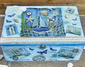 Big wooden blue box, Nautical Jewellery box, Wooden Decoupage Box, Decorative Multifunctional Box, Jewellery box