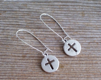 Silver Cross Earrings, Antiqued Silver Cutout Cross Earrings, Cross Jewelry, Silver Pierced Earrings, Christian Jewelry