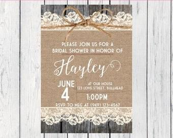 Bridal Shower Invite***Digital File*** (bridal-Brlp lace)