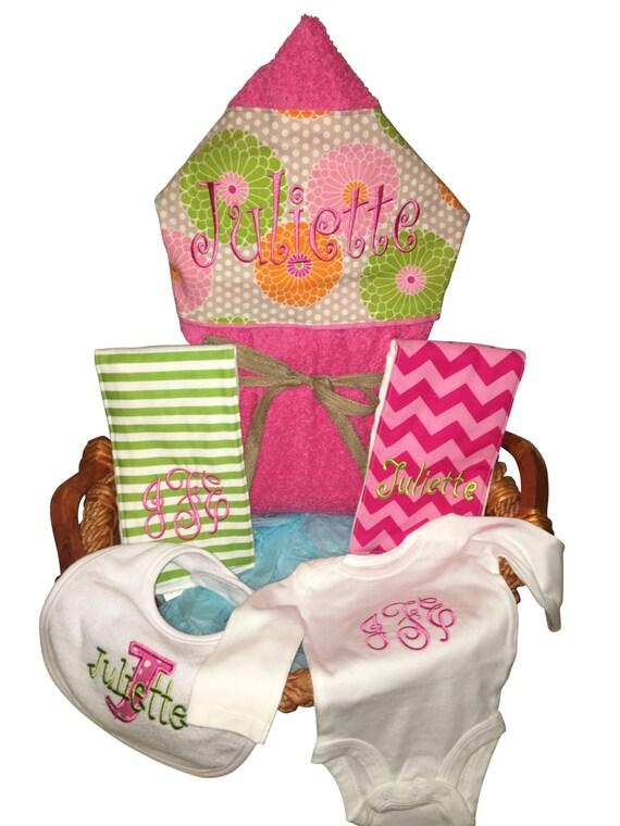 Baby Gift Basket Etsy : Baby gift basket custom for boy or girl monogrammed hooded