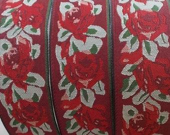 Jacquard Ribbon Trim   1-7/16 Inch Woven Jacquard Ribbon   Red roses Costume Trim~Red~Green